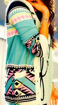 Tiffany blue Aztec Cardigan