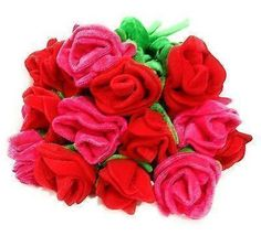 Soft Plush Long Stem Rose Bouquet Pink or Red Anniversary Mothers Day I Love You