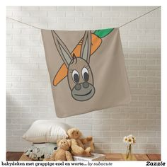 babydeken met grappige ezel en worteltjes baby dekentjes