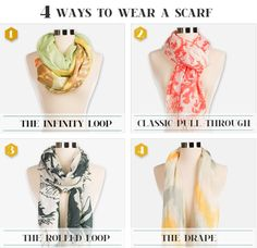 4 ways to wear a scarf! From Cafepress.