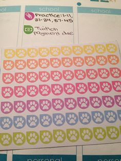 Animal Pet Paw Icons Pastel Teardrop Stickers for Planners!