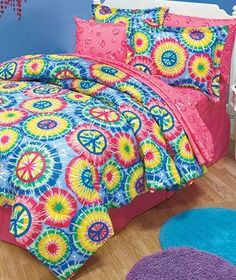 5pc Girl TIE DYE Peace Sign Twin Comforter & Sheet Set (Pink, Blue, Yellow, Green) by BedBuzz, http://www.amazon.com/dp/B005ANRUZK/ref=cm_sw_r_pi_dp_Gn3psb0RR4428