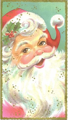 Vintage Christmas Card Jolly Santa Claus by TheVintageGreeting, $5.25