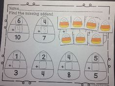Practice Missing Addends with printables and manipulatives. Just one of the many activities in Octoberfest For Kids! Over 80 pages of learning activities and 4 emergent readers. Perfect for ALL of October! K-1