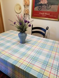 Plaid Cotton Tablecloth - Casual, Country or Farmhouse Decor - Bright Colors of Yellow, Blue, Red and White - Food Network Brand, PREOWNED