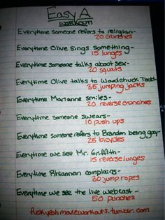 Easy A movie workout!  Want to see more workouts like this one? Follow us here.