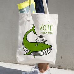 Vote Libraries 6 Tote Bag by Juana Medina | Creative Action Network
