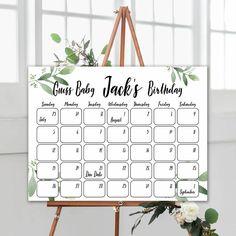 Boho Baby Birthday Prediction Game, Guess The Baby Birthday Game, Printable Boho Baby Shower Game, Guess Baby Birthday Game, Baby Shower Boho Baby Shower, Baby Shower Floral, Shower Bebe, Boy Shower, Baby Due Date Calendar, Diy Calendar, Wedding Shower Games, Baby Shower Games, Birthday Games