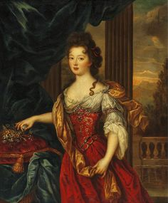 Marie Thérèse de Bourbon (1666-1732).  Princess of the blood and also titular Queen of Poland along with her husband, the Prince of Conti, in 1697. Portrait by Pierre Mignard.