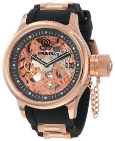 Invicta Men's 1090 Russian Diver Mechanical Skeleton Dial Black Polyurethane Watch Invicta. $169.99. Water-resistant to 165 feet (50 M). 60 second subdial at 9:00. Precise Hand-Wind Mechanical movement. Flame-fusion crystal; Polished 18k rose gold-plated stainless steel case; Black polyurethane strap with 18k rose gold-plated stainless steel barrel accents. Rose colored skeleton dial with black border and black hands; Screw-down protective cap on crown; Exhibiti...