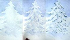 Painting Snow on Evergreens - Watercolor Tips Tutorial /Susie Short