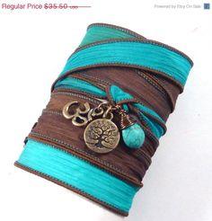 ON SALE Om Tree of Life Silk Wrap Bracelet with Turquoise,bohemian jewelry, yoga jewelry, wrap bracelet, hand painted silk ribbon