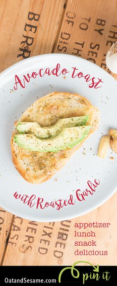 Avocado Toast with Roasted Garlic! Yet another delicious way to eat avocado toast! | recipe at OatandSesame.com