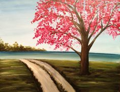 Browse our upcoming painting classes and events at Woodlands Pinot's Palette! Reserve your seat for the best paint and sip experience today! Country Paintings, Happy Paintings, Nature Paintings, Landscape Paintings, Tree Paintings, Canvas Paintings, Landscape Art, Acrylic Painting Canvas, Diy Painting