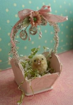 What an immensely cute little vintage inspired handmade Easter basket. #basket #spring #chick #pink #Easter #eggs #decor #decorations #crafts #shabby #chic #vintage