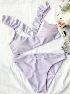 $13.99 Ruffles Strap Padded Scoop Bikini Set - LIGHT PURPLE S