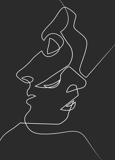 Juniqe Dark Faces Line Drawing Poster Face Line Drawing, Face Sketch, Smoke Drawing, Diy Tattoo, Art Abstrait Ligne, Family First Tattoo, Kunstjournal Inspiration, Face Lines, Abstract Line Art