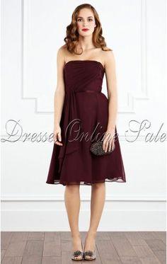 Royal Sheath Knee-length Strapless Burgundy Chiffon Dress