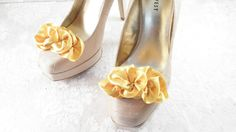 Yellow Gold Shoe Clips  Ruffle Parisian Glamour by Evajune on Etsy, $40.00