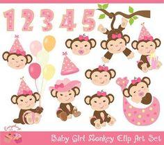 Mono de bebé niña Clip Art Set por 1EverythingNice en Etsy