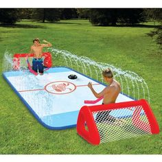 water soaked knee hockey rink - wish I'd had this when my kids were younger!  takes mini-sticks to a whole different level!