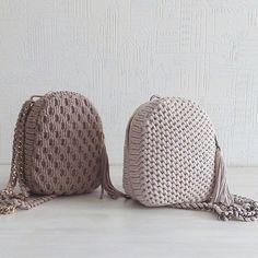 Crochet backpack pattern inspiration / crochet bag from t-shir yarn - Salvabrani - Knitting Crochet ideas Häkeln Sie Rucksackmuster Inspiration / Häkeltasche aus T-Shir-Garn - Salvabrani , Knitting Patterns Bag I share the process, so to speak) Sho Crochet Backpack Pattern, Free Crochet Bag, Crochet Handbags, Crochet Purses, Crochet Clutch, Crochet Baby, Knit Crochet, Mochila Crochet, Diy Purse