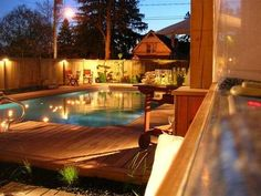 Above Ground Pool Decks - Lve how they make them look like they are In ground pools