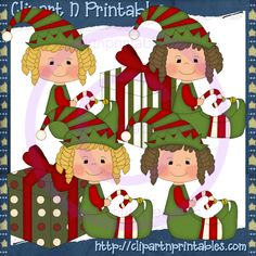 Holiday Elves Girls- #Clipart #ResellableClipart #ResellerClipart #Christmas #Elf #Elves #Gifts #Presents #CandyCanes #Girls