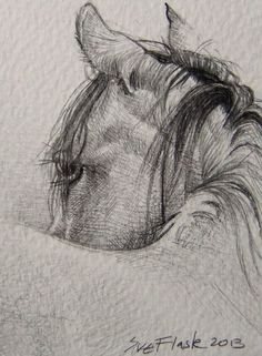 ACEO Drawing Pencil Card Chinese New Year 2014 Year of the #Horse by Sue Flask