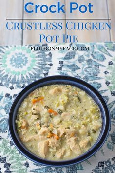 Crock Pot Crustless Chicken Pot Pie recipe is low carb. A creamy sauce with chicken and vegetables is delicious and a perfect family recipe via http://flouronmyface.com