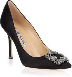 Manolo Blahnik Hangisi satin pump black on shopstyle.co.uk