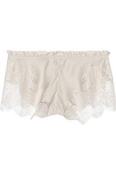 1175437dbf Carine Gilson - Lace-trimmed silk-satin shorts