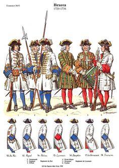 French; Line Infantry Du Roi to Touraine, 1720- 36.  Du Roi Regiment, Anspessade, Sergeant & Officer. De Lyonnais Regiment, Drum-Major, Drummer & Fusilier by L.Rousselot