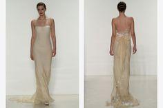 Off-white strapless illusion gown