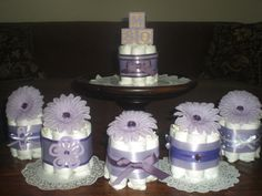 Purple Baby Shower Centerpieces Diaper by bearbottomdiapercakes, $8.50