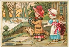 """""""A Happy New Year"""". On reverse, poem : """"Alfred Maud and Kitty upon the terrace are assembled...."""" Artist W.J.W. Author Frederick Langsbsridge."""
