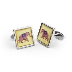Rhodium Plated Cufflinks (Elephant Design) available at Highgrove Shop