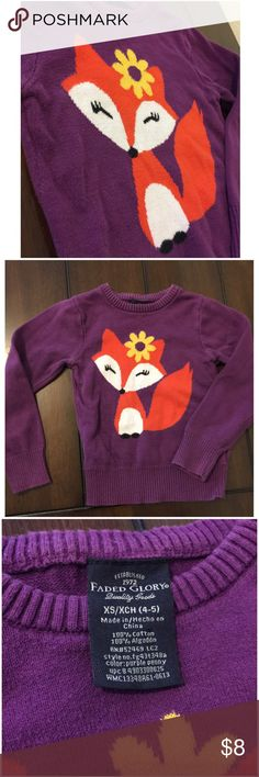 Faded glory purple girls fox sweater Such an adorable fox sweater!!!  It's faded glory brand, size 4/5.  *make sure to check out the rest of my closet too! Lots of little girls clothing and I do discounts on bundles!  I'm also open to offers! Faded Glory Shirts & Tops Sweaters