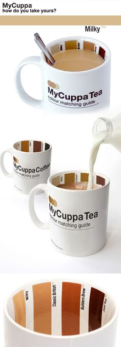 My Cuppa Tea // Mix your coffee or tea exactly the way you like it using the color matching guide -- hilarious!