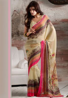 Light Beige Faux Georgette Saree. Simple yet elegant