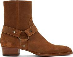bdab0e935 Saint Laurent Brown Suede Wyatt Biker Boots Dad Shoes, Me Too Shoes, Shoes  Men