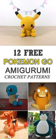 12 Free Pokemon Go Amigurumi Crochet Patterns 12 Free Pok. - 12 Free Pokemon Go Amigurumi Crochet Patterns 12 Free Pokemon Go Amigurumi C - Crochet Pikachu, Pokemon Crochet Pattern, Crochet Patterns Amigurumi, Crochet Dolls, Knitting Patterns, Knitting Toys, Crochet Amigurumi Free Patterns, Blanket Patterns, Free Knitting