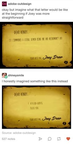 Bendy and the ink machine Joey Drew's letter Tumblr post