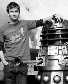 David Tennant with a Dalek.