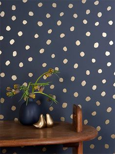 Fabulous gold polka for wallpaper. New Wallpaper from Juju Papers on Design*Sponge Paper Wallpaper, Navy Wallpaper, Metallic Wallpaper, Modern Wallpaper, Bathroom Wallpaper, Polka Dot Wallpaper, Blue And Gold Wallpaper, Charcoal Wallpaper, Powder Room Wallpaper