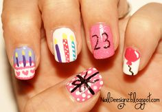 My Birthday Nails 21st Birthday Nails, Birthday Nail Art, Happy Birthday, Matte Nails Glitter, Stiletto Nail Art, Christmas Nail Art, Holiday Nails, Acrylic Nail Designs, Nail Art Designs