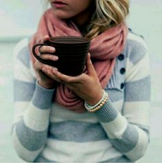 Comfy sweater and hot coffee. Yes.