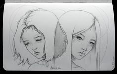 virtually twins by angelwizar pencil in moleskine  my blog:http://angelwizar.tumblr.com/