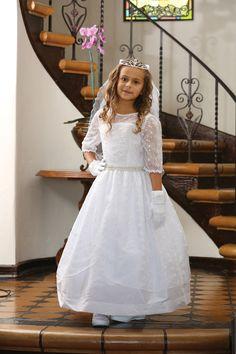 White Embroidered Mesh Taffeta Communion Dress
