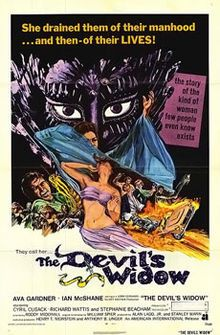 The Ballad of Tam Lin (aka The Devil's Widow) Staring: Ava Gardner, Ian McShane, Richard Wattis, Cyril Cusack and Stephanie Beacham. Directed by Roddy McDowall. Ava Gardner, Horror Movie Posters, Horror Films, Film Posters, Concert Posters, Clark Gable, Cyril Cusack, Classic Horror Movies, Movie Titles